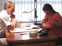Stocky Wife with Big Boobs Came For an Interview To Neighbor