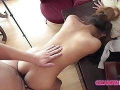 Pudgy Asian bar slut bareback creampie