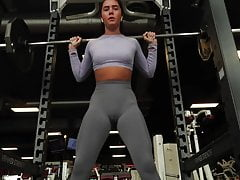 No pantie No bra at the Gym (camel toe cameltoe) pussy shape