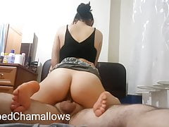 Creaming on his big dick while I am riding on top